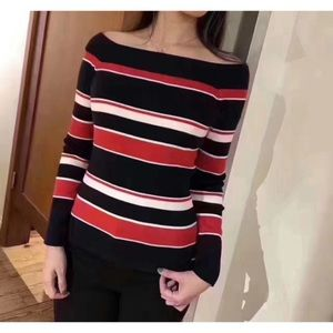 NWT Tommy Hilfiger Stripe Off-Shoulder Knit Top